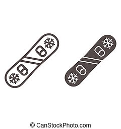 Snowboard line and solid icon, Winter sport concept, snowboarding equipment sign on white background, Snow board icon in outline style for mobile concept and web design. Vector graphics.