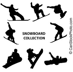 many different snowboard silhouettes with high detail
