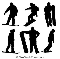 Snowboard silhouettes collection. Vector eps8