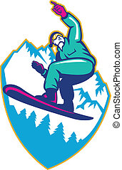 Illustration of a snowboarding jumping on snowboard pointng forward set inside crest shield with mountain alps and alpine trees in background.