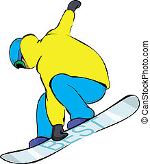 snowboarder in yellow, extreme trick