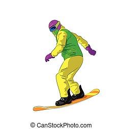 Snowboarder sliding down, man snowboarding, Vector Illustration