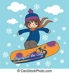 Young kid flying through the sky with his snowboard