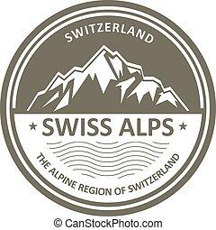 Snowbound Swiss Alps emblem - Switzerland stamp