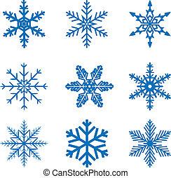 llustration set blue Snowflake isolated on white background. Vector.
