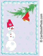 snowman at the christmas on the vio