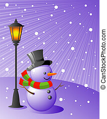 Snowman stands under a lamp on a snowy evening. EPS 8, AI, JPEG