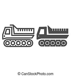 Snowplow line and solid icon, winter transport symbol, cross-country vehicle vector sign on white background, caterpillar snowmobile icon outline style mobile concept and web design. Vector graphics.