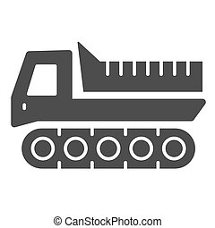 Snowplow solid icon, winter transport symbol, cross-country vehicle vector sign on white background, caterpillar snowmobile icon glyph style mobile concept and web design. Vector graphics.