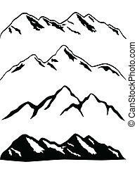 Various mountains with snow caps