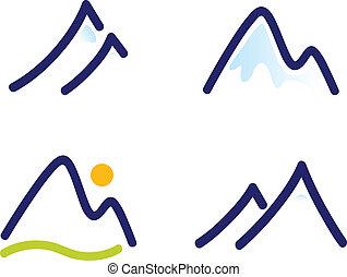 Winter mountains vector icons.