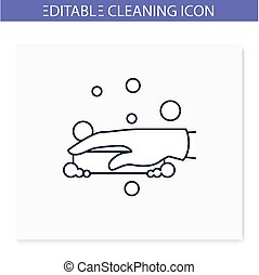 Soap cleaning line icon. Soaping, foaming. Housekeeper hand with soap. Wet cleaning. Housekeeping and surface disinfection concept. Isolated vector illustration. Editable stroke