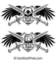 soccer and basketball shield emblem