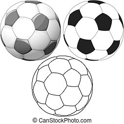 Vector illustration set of soccer ball colored black and white and outline.