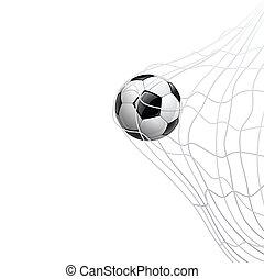 Soccer ball in net. on goal, vector illustration