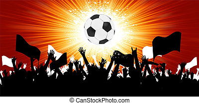 Soccer ball with crowd silhouettes of sport fans with space for text. EPS 8 vector file included