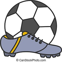 Soccer boot and ball color icon
