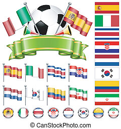 Soccer World Championship 2014 Brazil Collect with Flags, Ball, Ribbon and Flags, isolated vector. Part 2 of 4.