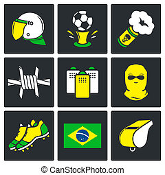 Soccer fans ultras icons set on a black background