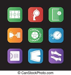 Soccer flat design icons set