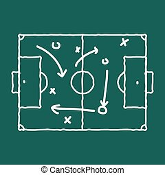 Soccer game strategy coaching blackboard and chalk scheme.