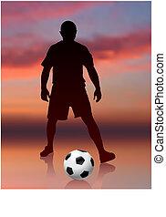 Soccer Player on Evening Background Original Vector Illustration