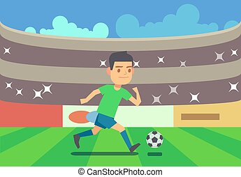 Soccer player running with ball vector illustration
