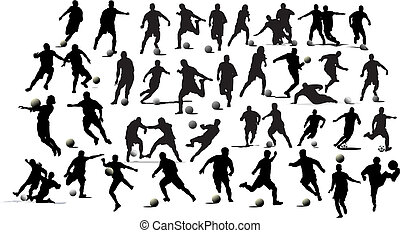 Soccer players. Black and white Vector illustration for designers