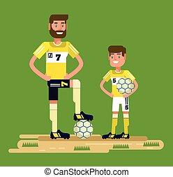 Soccer players. Vector flat cartoon