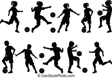 Soccer Players Silhouettes of Kids - Boys and Girls