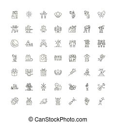 Social event linear icons, signs, symbols vector line illustration set