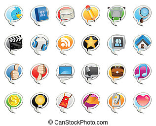 Social Media Bubble Icon. Useful As Icon, Illustration , Banners and Background For Social Media Theme and Web