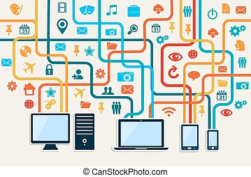 Social media connection concept with mobile, notebook and server technology illustration10 vector file organized in layers for easy editing.