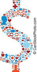 Social media icons set in dollar currency symbol shape illustration