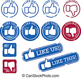 A collection of thumbs up social media icons.