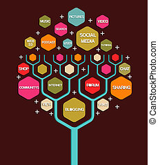 Social network tree business marketing plan. Vector illustration layered for easy manipulation and custom coloring.