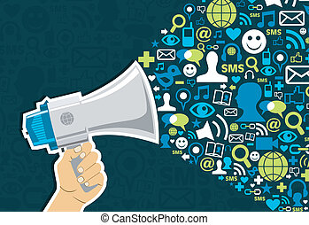 Hand holding a megaphone throwing social media icons on blue background. Vector file available.