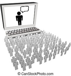 Computer communication RSS blog twitter leader or speaker talks to a large social network audience of people.