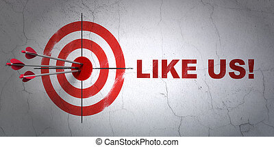 Social network concept: target and Like us! on wall background