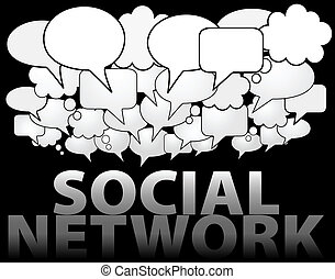 A cloud of SOCIAL NETWORK media speech and thought bubbles as symbol of communication