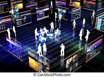Ebusiness Concept or Ecommerce illustrated with people doing activity and business in virtual futuristic world.