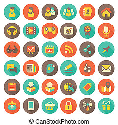 Set of 36 flat round web icons of social networking and multimedia in retro colors with long shadows
