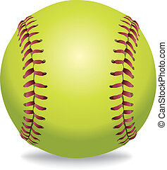 An illustration of a softball isolated on white. Vector EPS 10 available. EPS file contains transparencies and gradient mesh in the dropshadow.