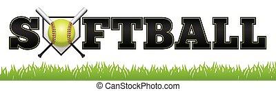 Softball Word Art Illustration