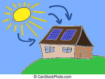 Doodle drawing - solar energy concept. Renewable sun power with photovoltaic cells on house roof.