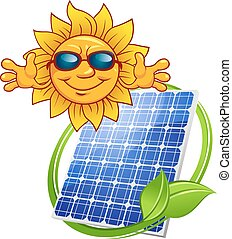 Colored Solar energy panel with cartoon sun and green frame for environment concept design