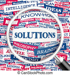 SOLUTIONS. Concept illustration. Graphic tag collection. Wordcloud collage.