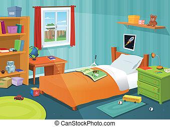 Illustration of a cartoon children bedroom with boy or girl lifestyle elements, toys, bed, books, desk, bookshelf, teddy bear