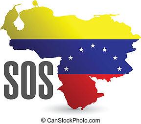 sos venezuela map illustration design over a white background