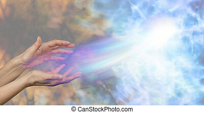 Female hands on a darkness to light background and a soul energy formation moving out towards the light depicting soul release